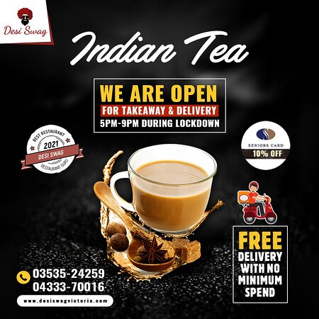 Try hot Indian Tea☕️ at DESI SWAG to raise your immunity. Enjoy the waves of its outstanding spicy flavors. We are open from 5 PM to 9 PM for your Take-Away and Deliveries. Free deliveries with no minimum spend are on.  ◾️ Call us on 📲 03535-24259, 04333-70016. ◾️ Come to 📌 DESI SWAG, 202-204, Barkly Street, Ararat-Vic. ◾️ Order online at 🌐 https://desiswagvictoria.com/welcome/menu_order