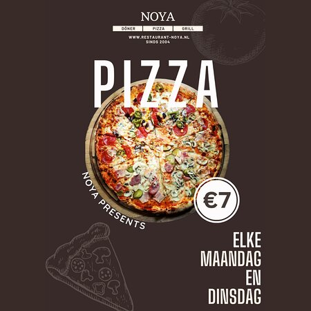 Every Monday and Tuesday = pizza day. All pizza's €7,-!