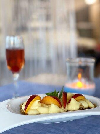 Modern Greek Dining Dessert Summer (Peach, Bitter Almond Cream, Crumble)