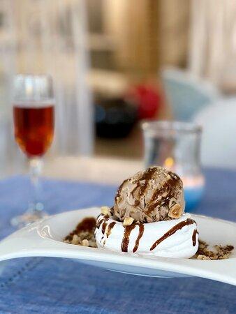 Modern Greek Dining Dessert Mocha (Meringue Nest, Mocha Ice Cream, Roasted Hazelnuts, Coffee Sauce)