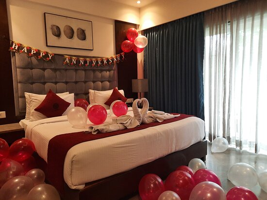 Decorated Room to Celebrate the Wedding Anniversary at the Resort