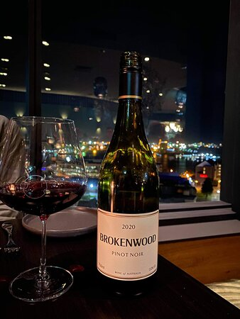 Good wine choice for our steaks, a glimpse of the view in the background