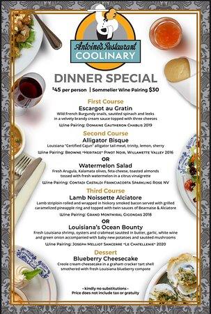 2021 Coolinary Dinner Menu