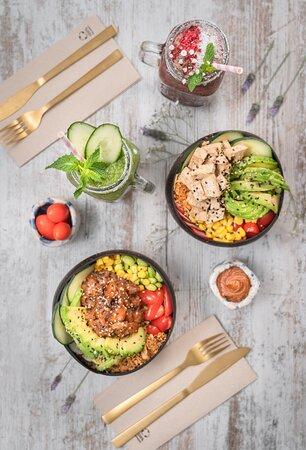 Poke bowl de Salmón/ Poke bowl de Tofu