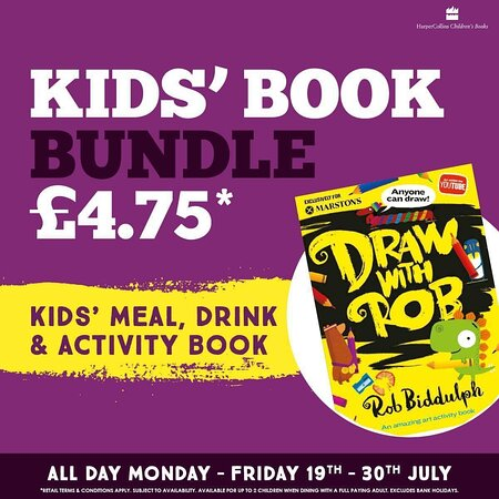 ✏️ Draw with Rob ✏️  If you're like me and relied on Rob on a very well used media channel through lockdown you'll be super excited to get your hands on one of these 😃  Get one of these fantastic draw with rob books when you order a children's meal. Also includes a fruit shoot. We have a limited amount so don't miss out!  Monday to Friday until the 30th July when dining with a full paying adult 😃  Ask a team member for more details 🥳  #WeAreMarstons #DrawWithRob
