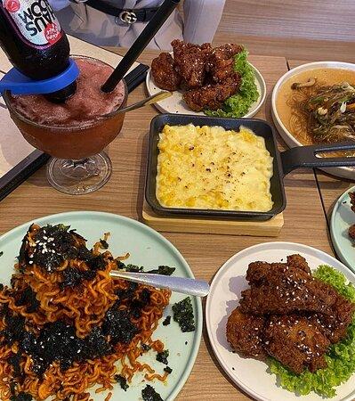 Johor Bahru District, Malaysia: Flaming noodle, honey butter bumbuk, Yyangyeom Bumbuk, Japchae, Soy Garlic bumbuk, corn cheese and signature beverage