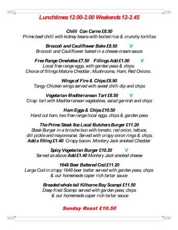 East Hoathly, UK: Lunchtime Menu