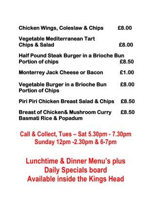 East Hoathly, UK: Takeaway menu 2
