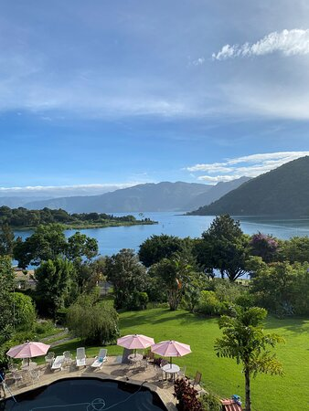San Lucas Toliman, Guatemala: View from Restaurant deck overlooking pool, grounds, and lake Atitlan.