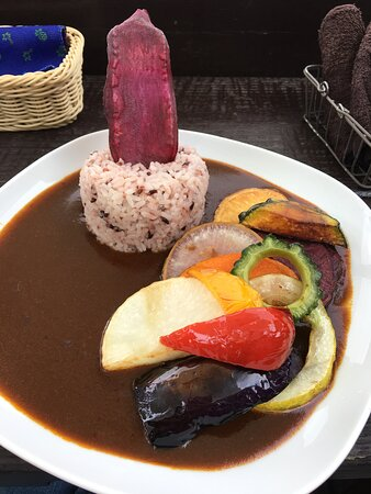 The Island Vegetables, Fried and Served with the Smooth Curry, from the slightly bitter Goya to the Purple Sweet Potato + View, a lunch to Remember!