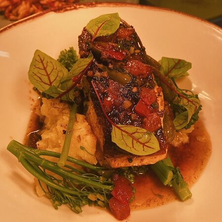 Fish of the day, crushed new potatoes