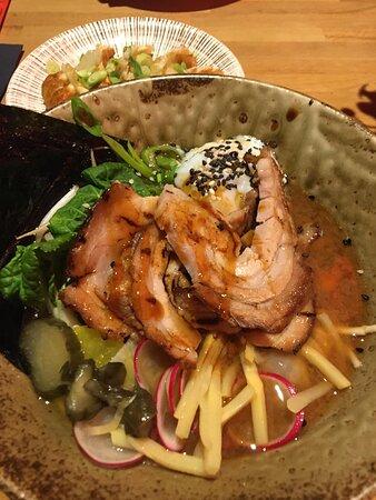 Smoked pork chashu in shiro miso broth ramen