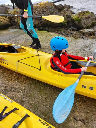 Getting kayak ready with the 8 year old