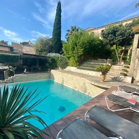 Relaxing pool in a beautiful garden