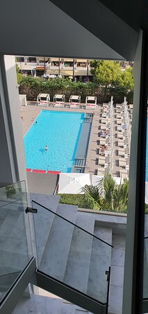 View of  the pool from the staircase