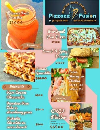 Brunch menu! @pizzazzfusionja