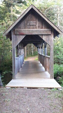 Timber frame bridge.