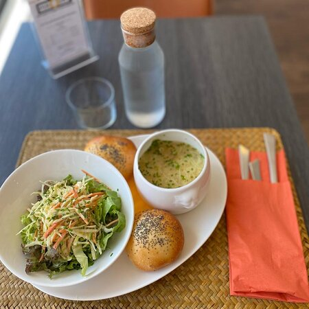 Our soups with salads and pirojkis