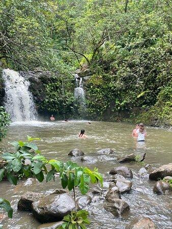 Swimmable waterfall