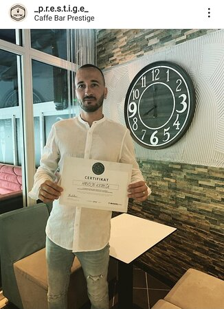Certificate Prestige Bar 👍👍👍💪💪💪💪 for cocktails, coffe, alcohol drinks, and beer and wine