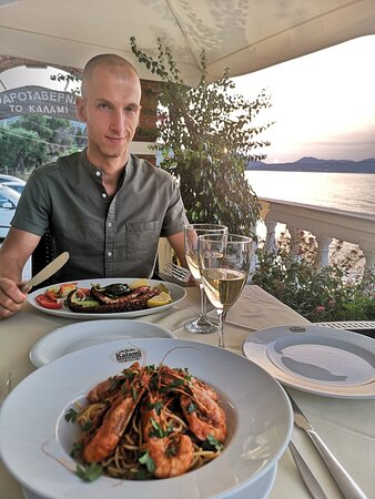 Our main dishes and the amazing view