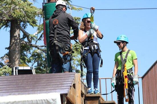 Zipline Tour - 9 high-speed ziplines & fun suspension bridge: Being set up for next line