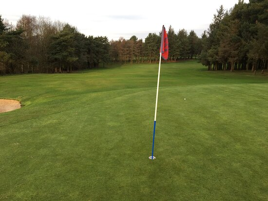 3rd green, tough pin position, look back down fairway