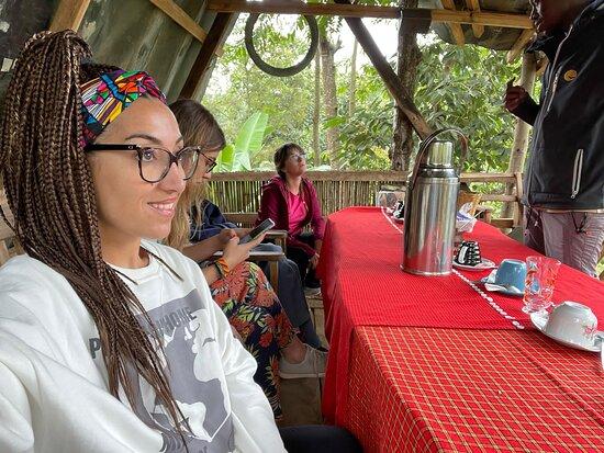 Arusha, Tanzania: Enjoying the views while having a coffee