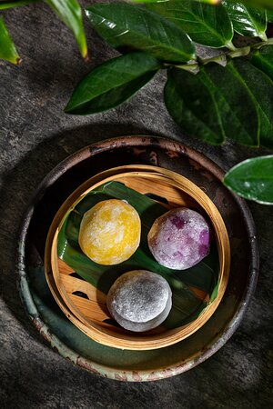 Mochi with coconut/yuzu/mango  Perfect idea for a light dessert after the awesome dinner