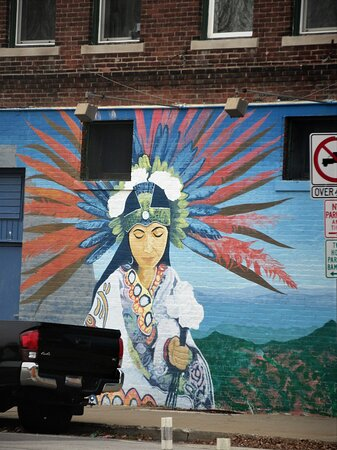 Public Art: Tribute to Native Americans. The Illini Indians populated the area in 1650s. Mural at Main St/Sheridan Rd. Peoria IL. Fall 2020