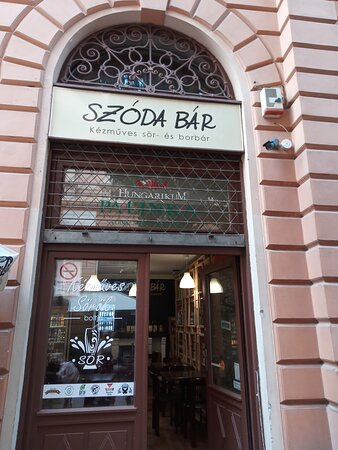 The entrance of Szoda Bar in the centre of Debrecen.