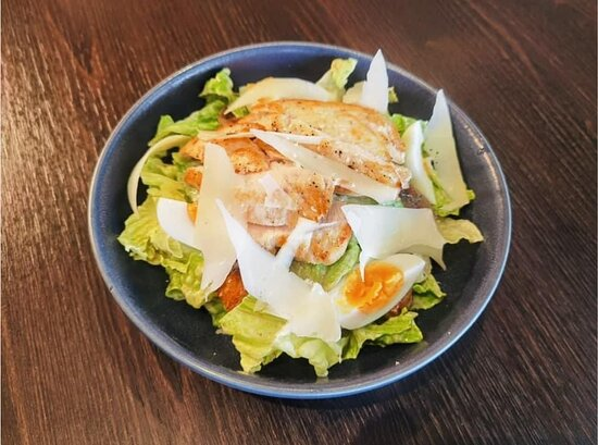 Chicken Caesar Salad with soft boiled egg