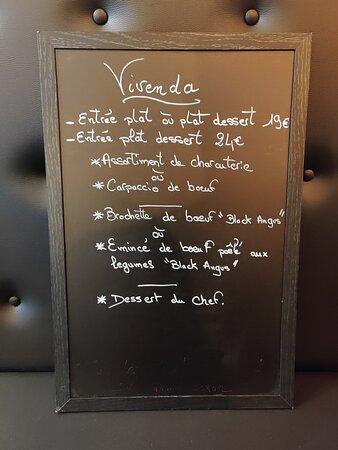 menu du jour du chef