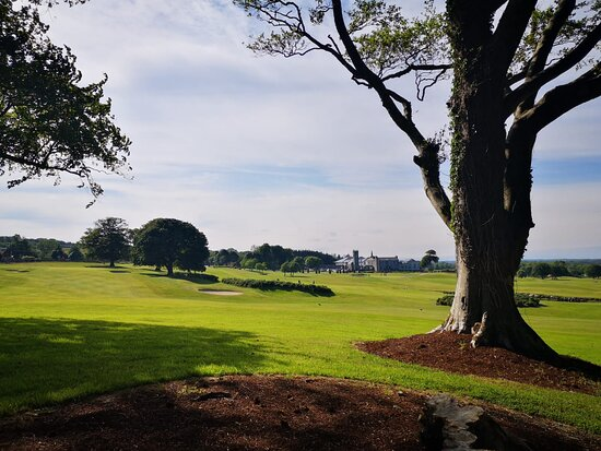 Picture of Glenlo Abbey and golf course from the outer edge of the grounds.
