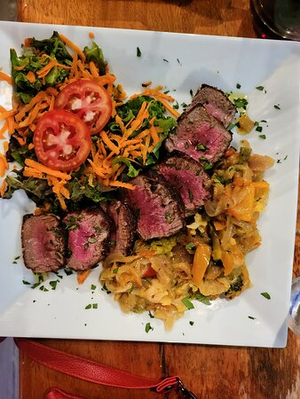 Beef Tenderloin with veggies and a wonderful salad!!!