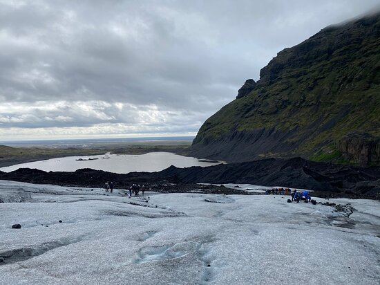 3-hour Glacier Hike on Sólheimajökull: View of the glacier lagoon from the glacier.