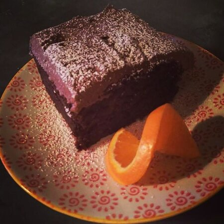 Gorgeous fudgy and moist chocolate cake which just happens to be Vegan! By talented local baker Camilla Lloyd