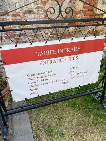 Entrance fees on display.