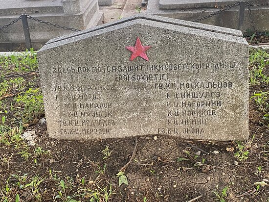 Commemorating the Soviet soldier fallen in Timisoara during WWII. In the heroes cemetery in Timisoara.