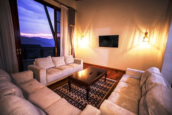 Living room of the family cottage and its sunset views.