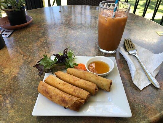 Papaya salad with sticky rice and yummy crunchy spring rolls