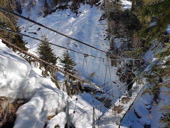Lantsch/Lenz, Switzerland: Hängebrücke Val Meltger im Winter
