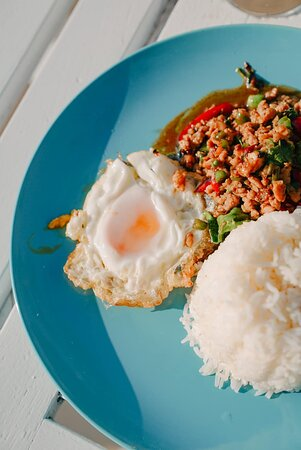 Pork/Chicken Basil rice with fried egg