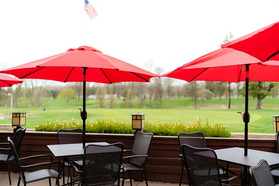 Camp Ti's patio overlooks Sylvan Glen Golf Course in Troy, Michigan.