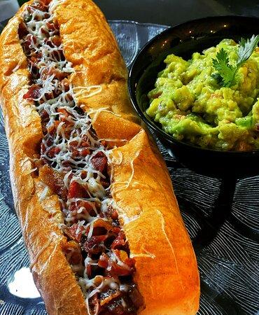 Bourbon Hotdog and Guacamole.. Simply delicious 😋