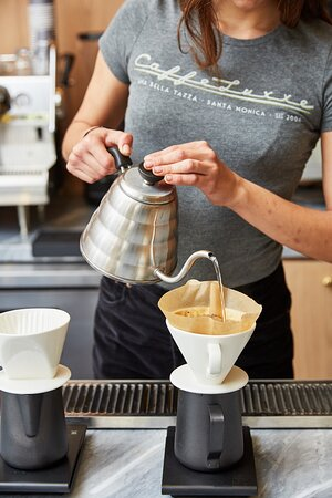 Hand pour over brewed coffee.
