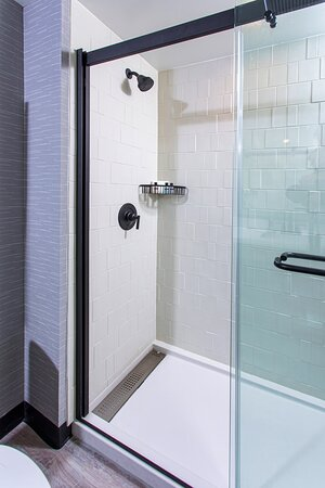 Rooms with king beds feature glass-enclosed showers.