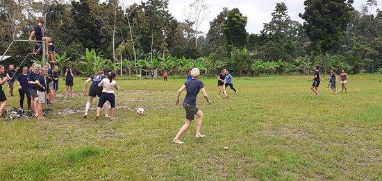 Bocas del Toro Province, Panama: Deporte fútbol  Alemania  versus Panama en el estadio de la comunidad  de Bonyic.