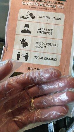 Wear plastic gloves to take food at Broth Shabu-Shabu.