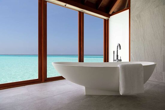 Over Water Suite bathtub with lagoon view